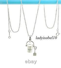 Tiffany & Co Sterling Silver Sand Bucket Shovel Enamel Charm 18 Bead Necklace C