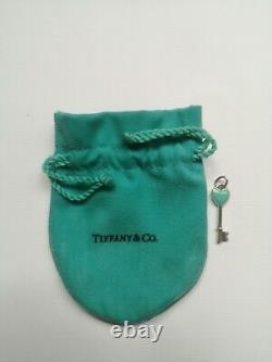 Tiffany & Co. Turquoise Enamel Heart Key Necklace Sterling Silver RPR £190