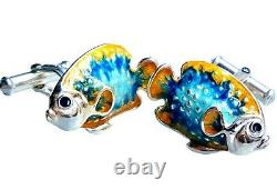 Tropical Fish Cufflinks, Sterling Silver, Enamel. G. Daniloff&co