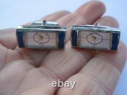Very Rare Vintage Tateossian Clock Cufflinks with New Batteries