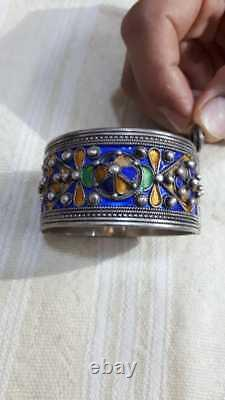 Vintege Silver Moroccan Berber Cobalt Blue Enamel Ethnic Tribal Floral Bangle