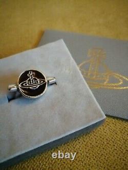 Vivienne Westwood Silver Plated Flipped Black Enamel Saturn Orb/Skull Ring