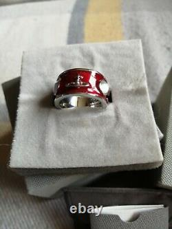 Vivienne Westwood Silver Plated Red Enamel Saturn Orb & Opal Ring Size P